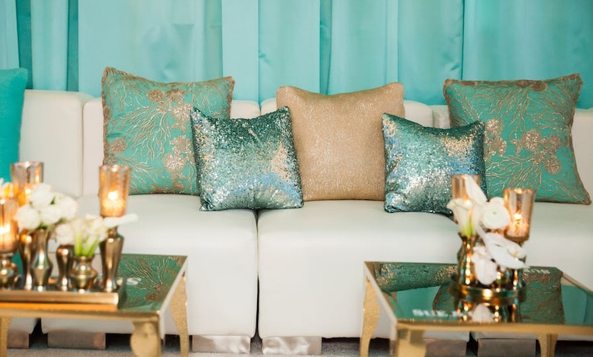 Blue and gold lounge area