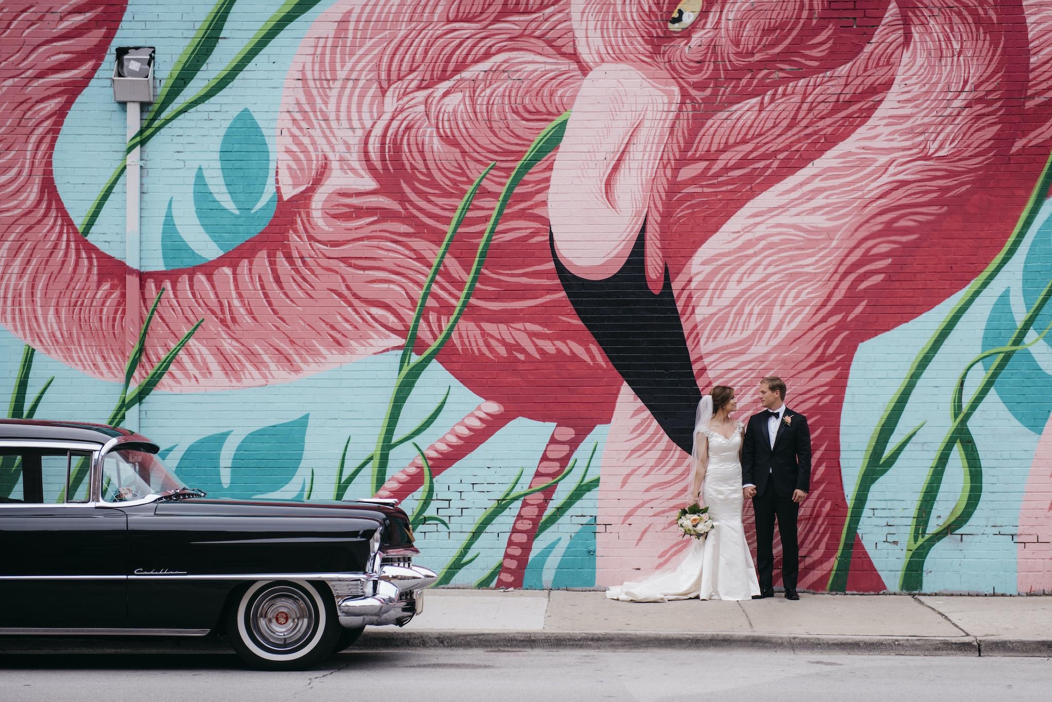 flamingo wedding photo