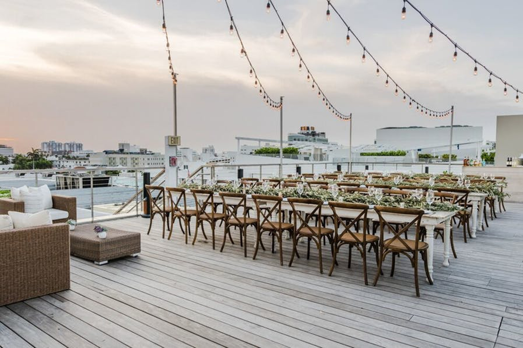 white rooftop city dinner party at the betsy hotel miami beach
