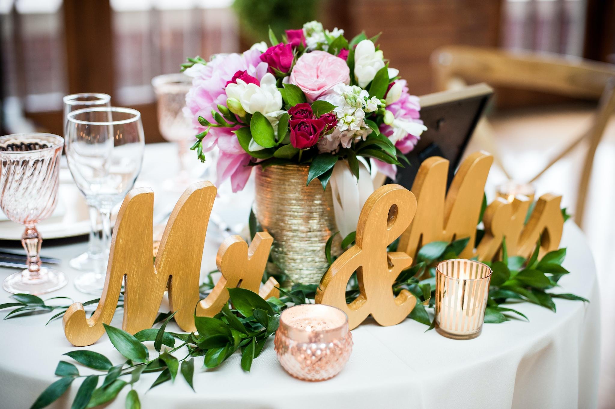 colorful wedding bouquet centerpiece
