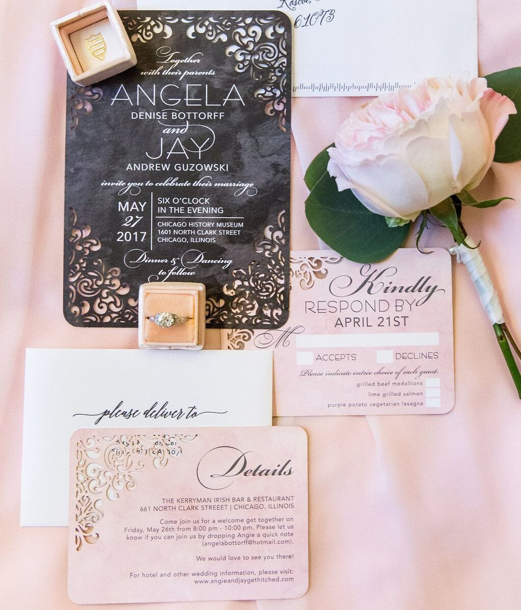 colorful spring wedding invitation