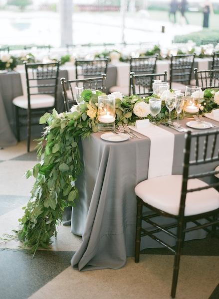 modern green leaf table garland
