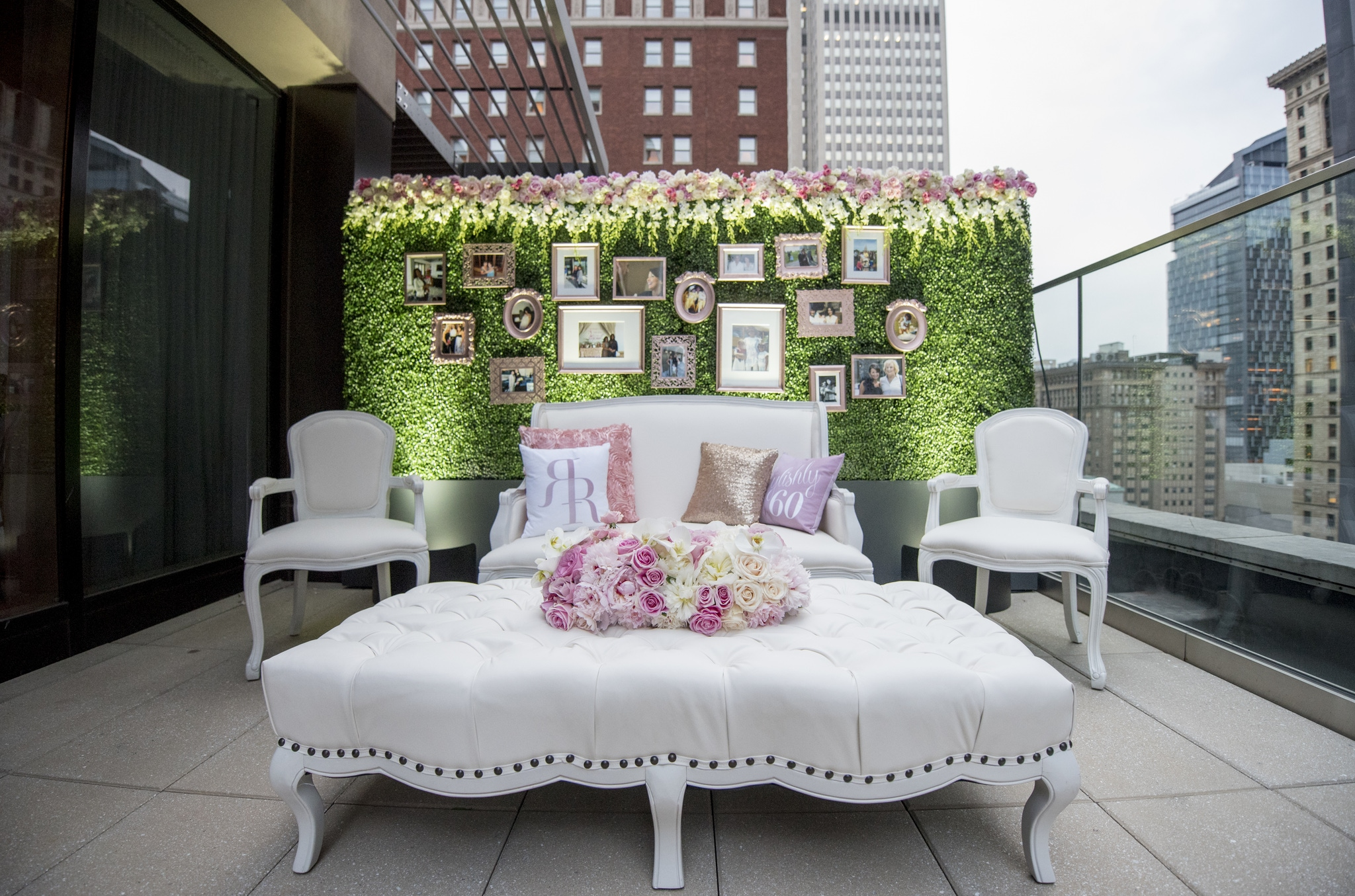Terrace with a floral theme and ivy wall