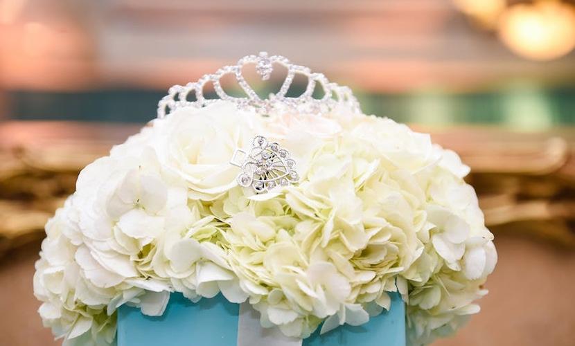 Crown on top of flowers