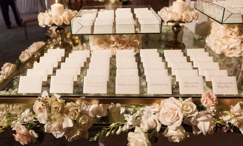 pink and white floral place card table
