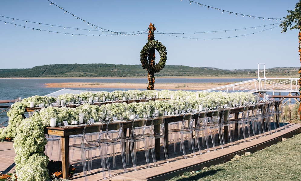 green table garland outdoors