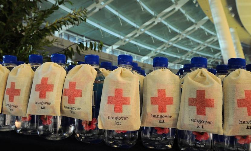 hangover kit fiji water bottle