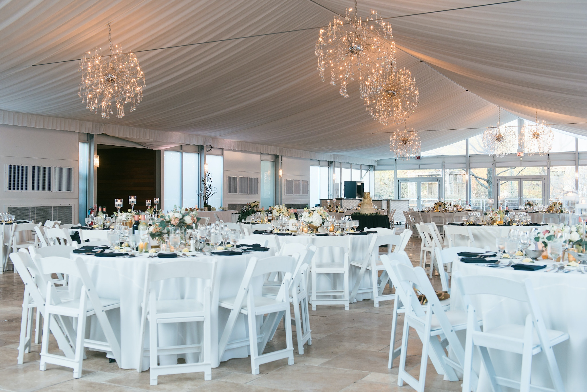 white tented pavilion space