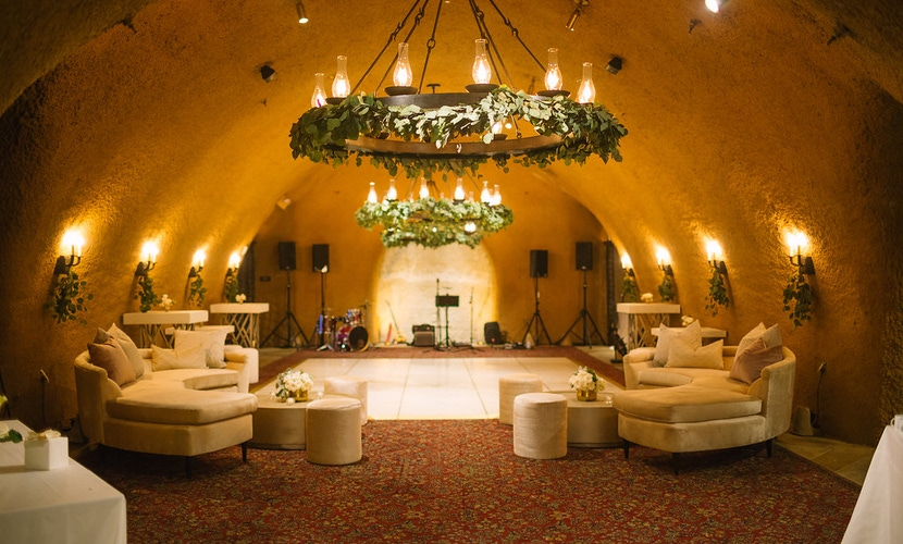 wine cave wedding reception with dance floor