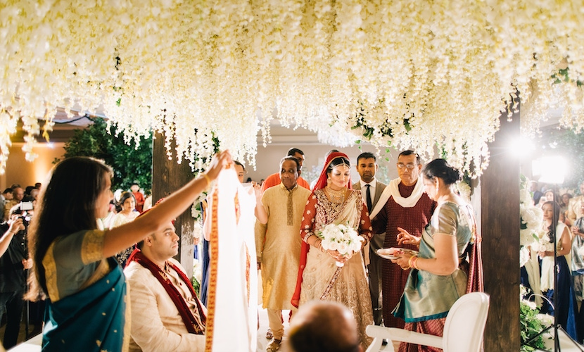 Indian wedding ceremony floral canopy