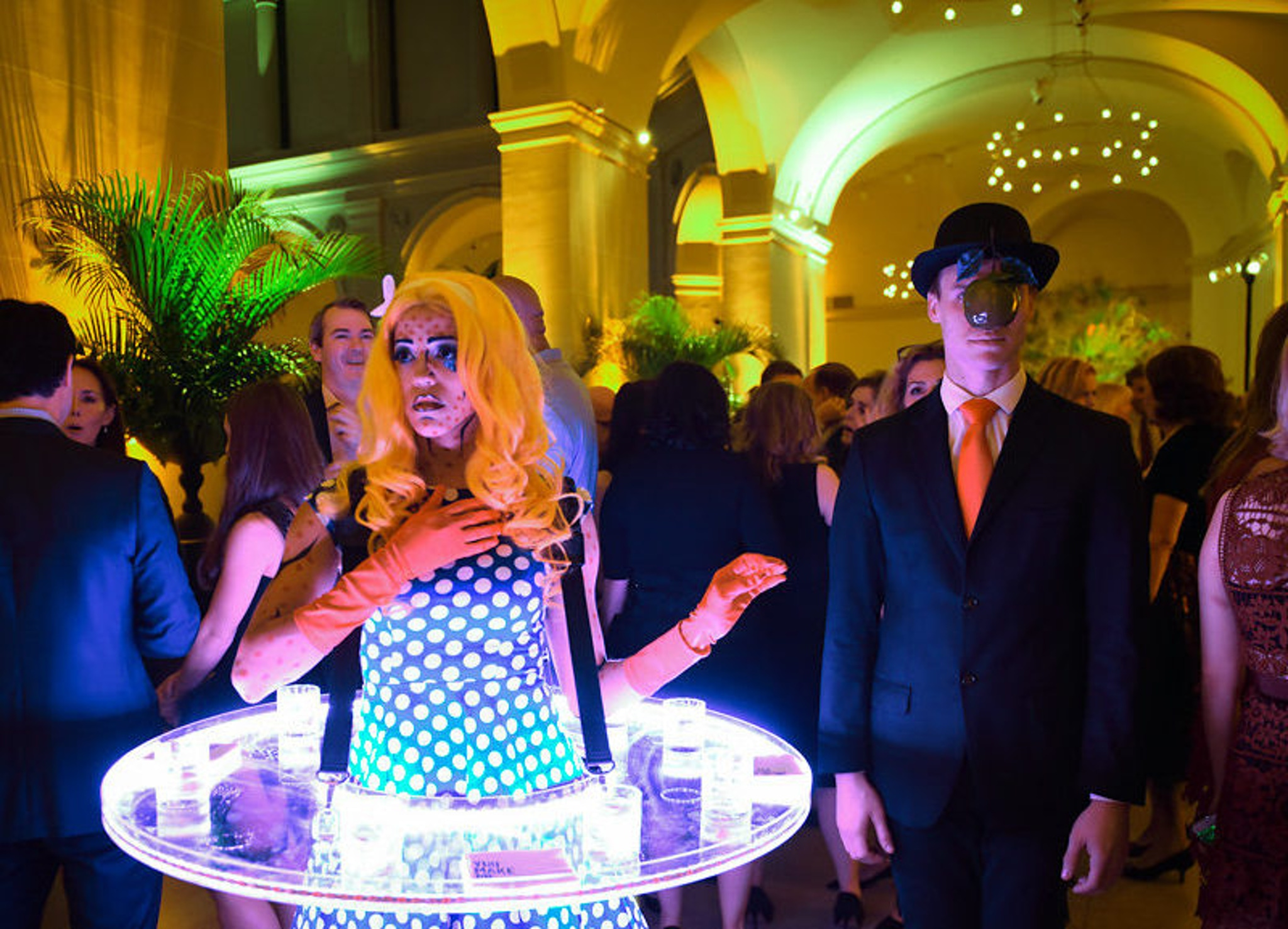 Modern art themed venue in New York with celebrity replicas