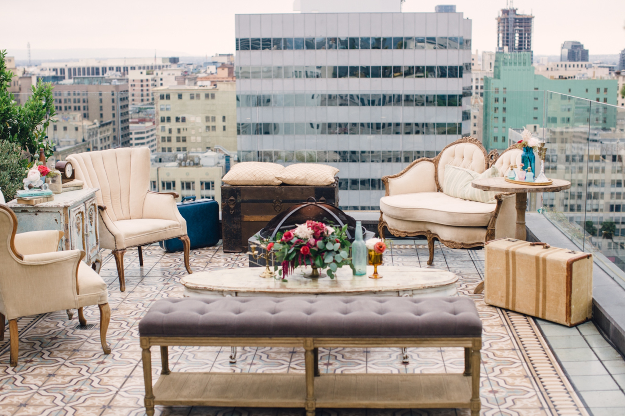 Lounge space on rooftop venue in Los Angeles, California