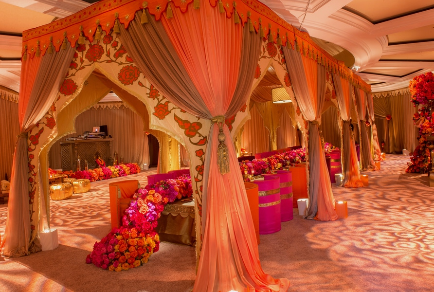 pink and orange event decor
