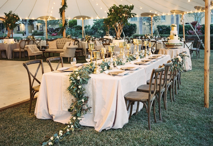 rustic tented wedding table garland