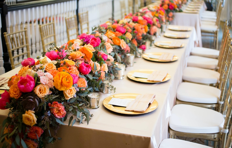 colorful floral runner garland