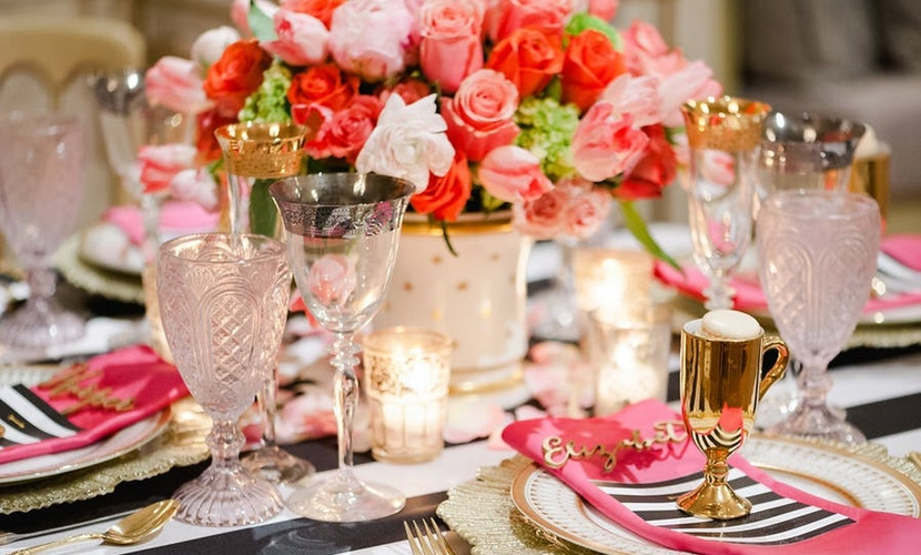 Pink red and white floral arrangement