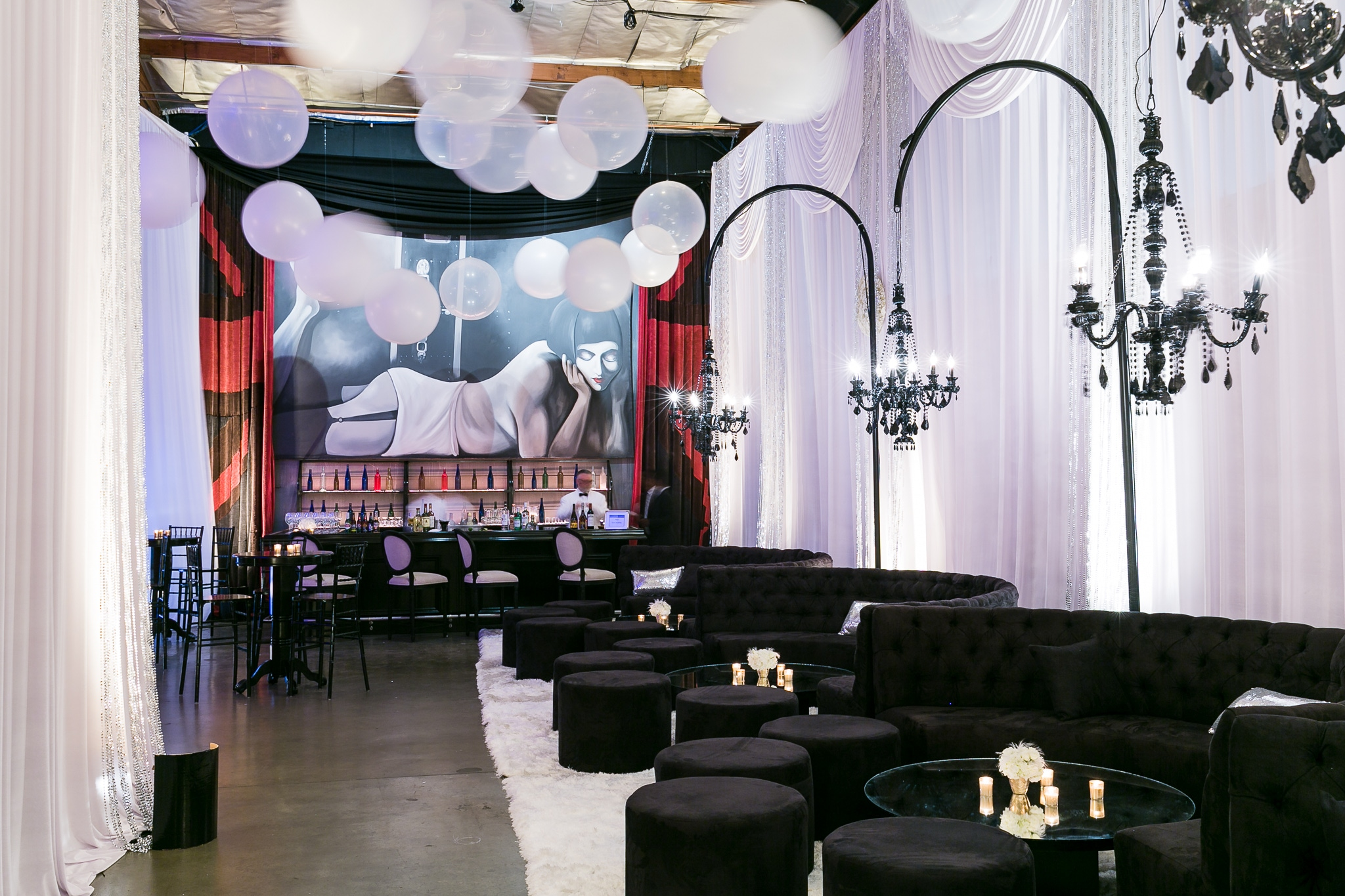 Gatsby-themed party with elegant decorations in Los Angeles, California
