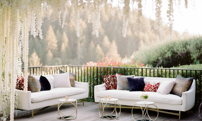 ceiling florals over outdoor lounge area with Napa view