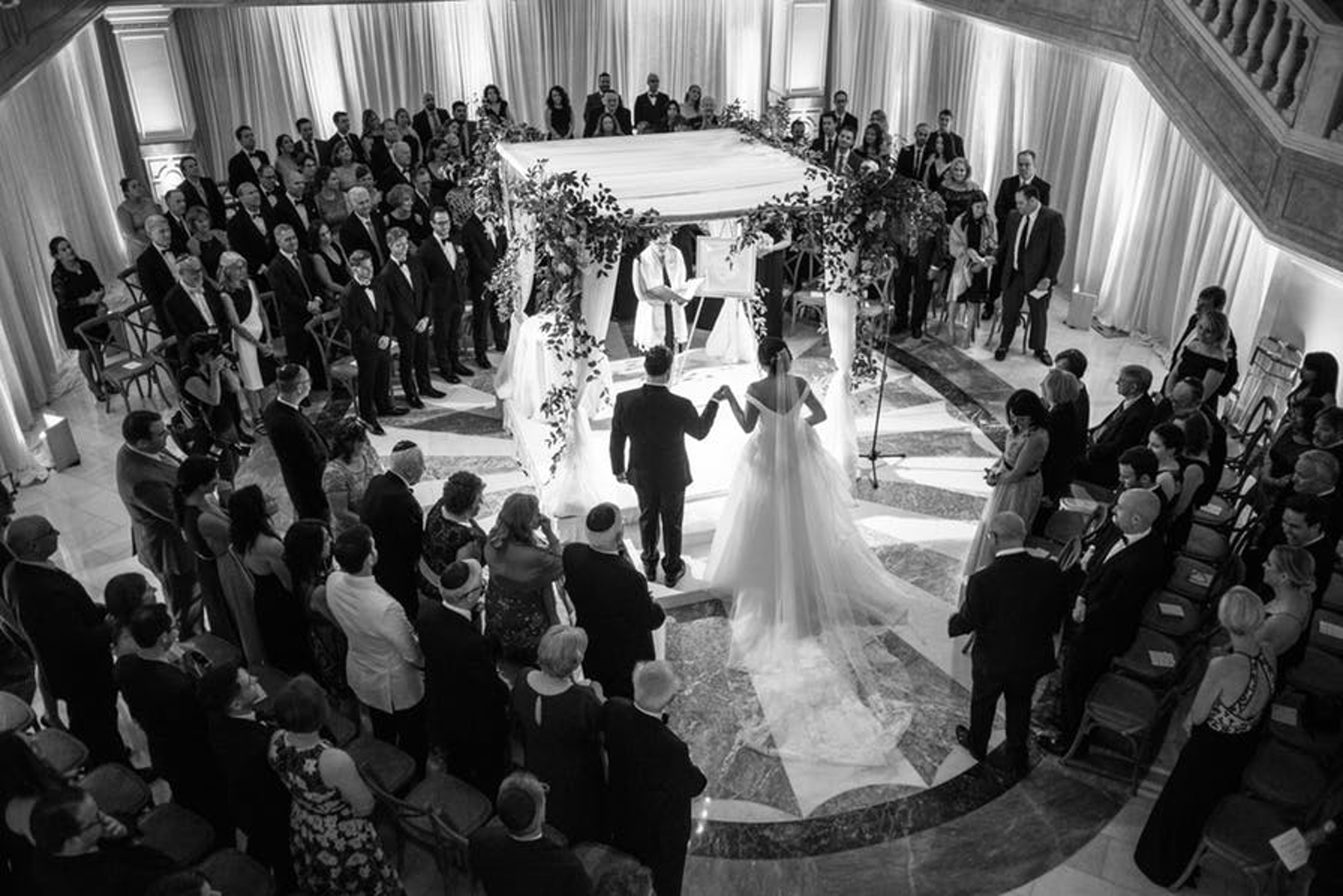 marble starburst floor design is perfect for wedding ceremony at national museum of women in the arts