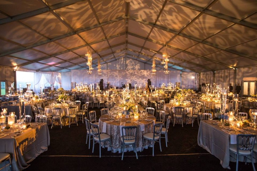 Tented candle lit venue