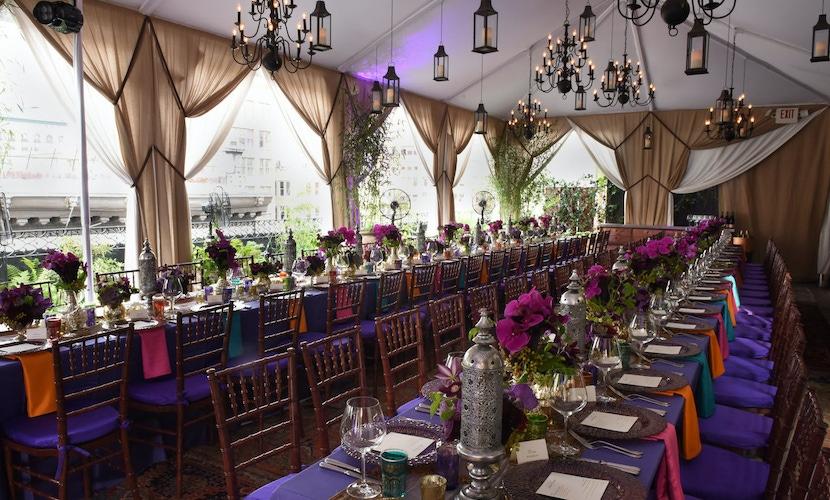 purple hued table decor