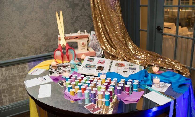 Colorful yarn table
