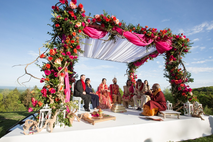 Outdoor Indian wedding colorful canopy