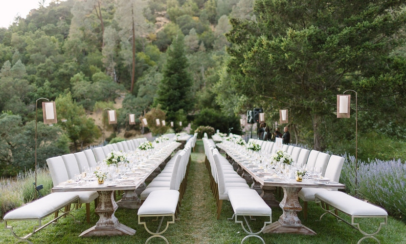 napa valley all-white outdoor wedding reception dinner with trees all around