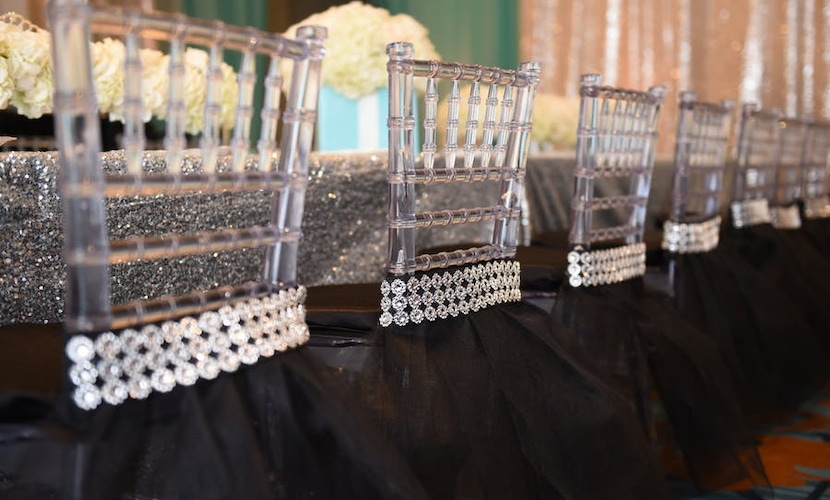 Plastic chairs with crystals