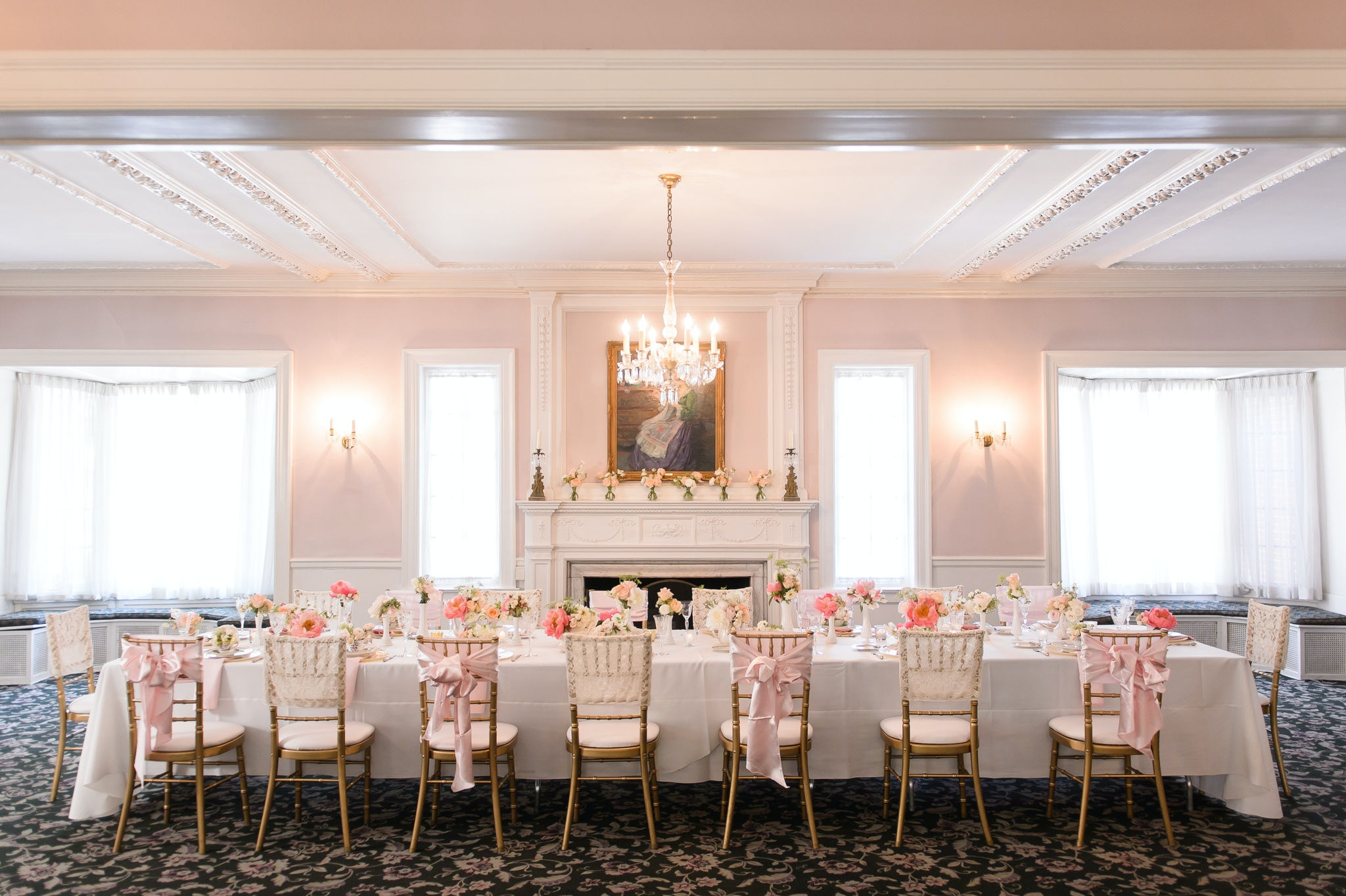 The Woman's Club of Evanston pink ballroom
