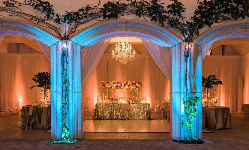 blue light wedding arch