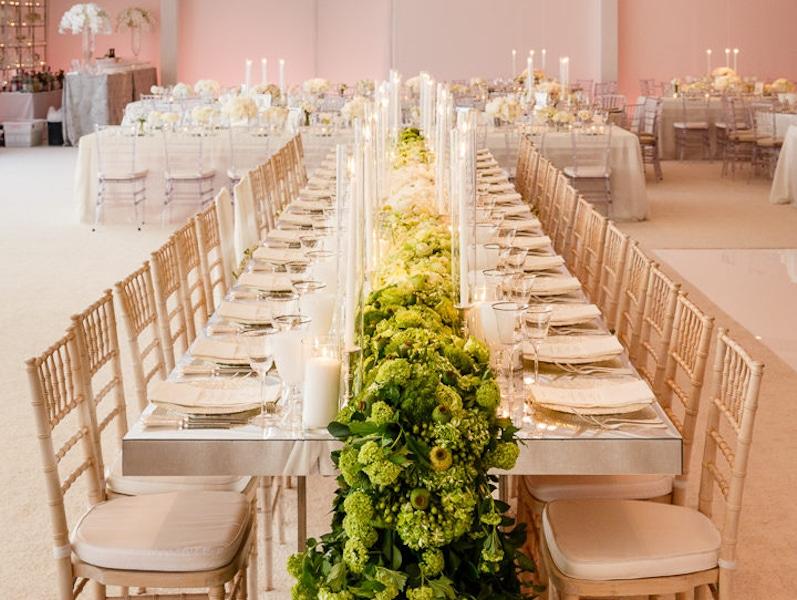 modern green floral table garland runner