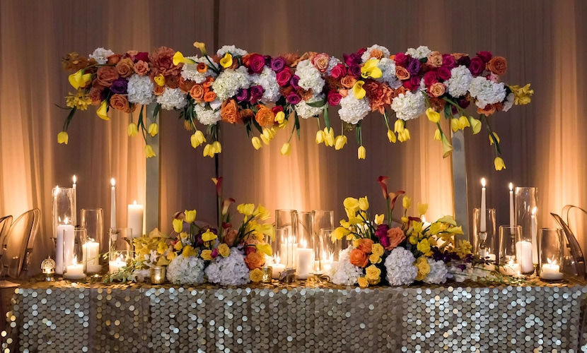floral and sparkle table design