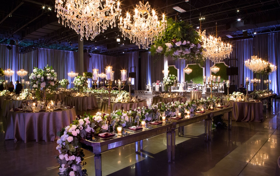 green and purple table garland