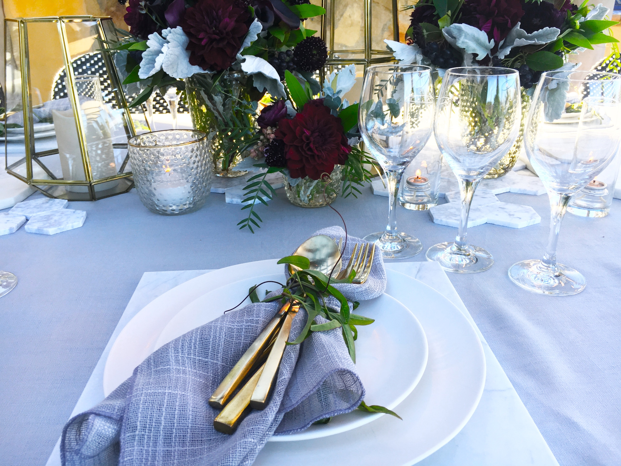 Place setting with gold silverware