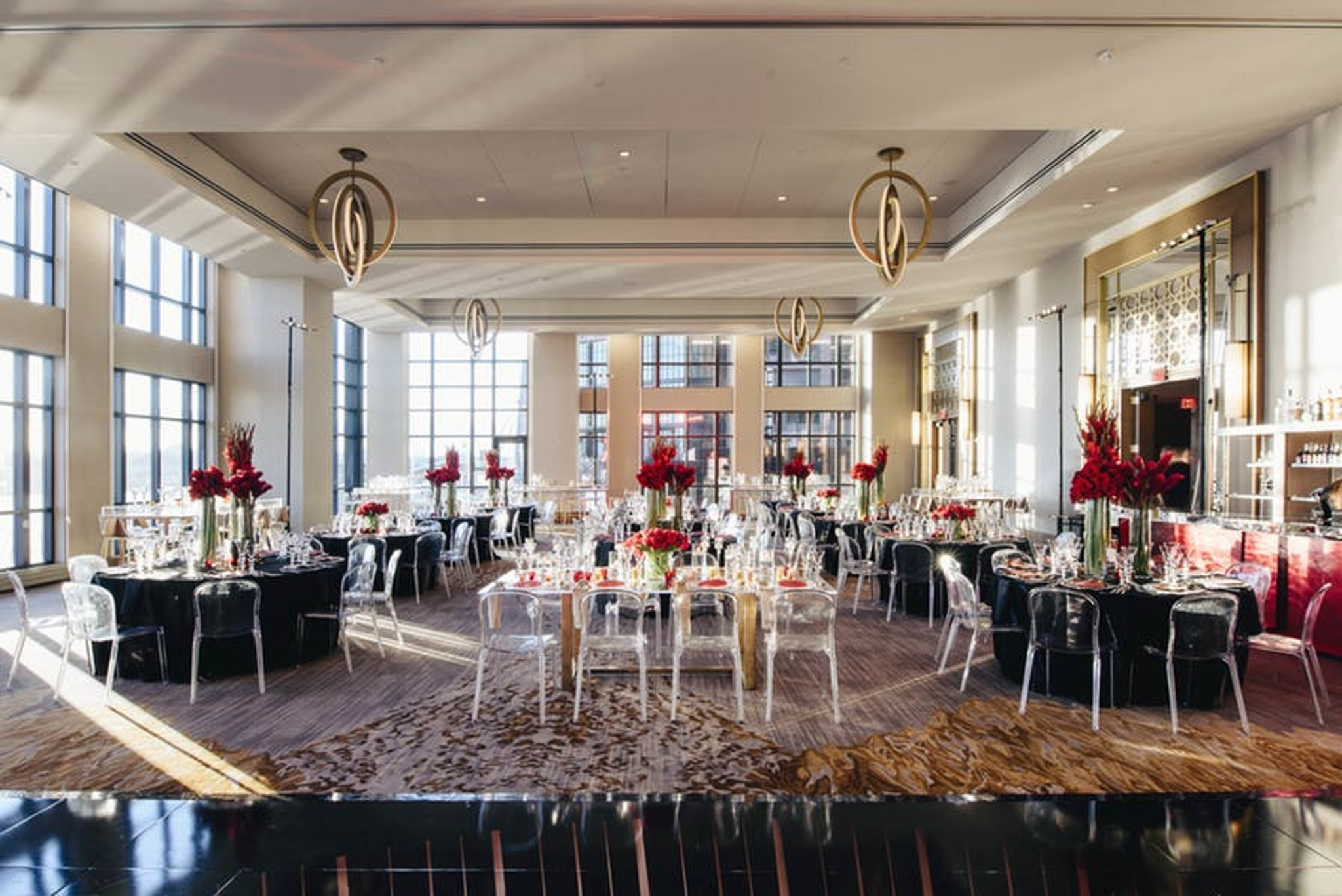 bright tall windows and brass chandeliers in intercontinental washington d.c. ballroom
