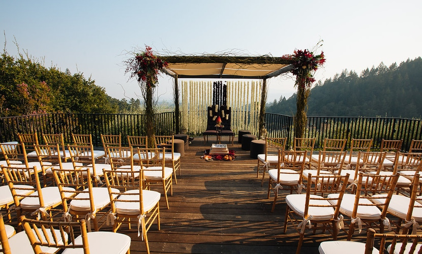 lush greenery on trellis with view for Napa wedding ceremony