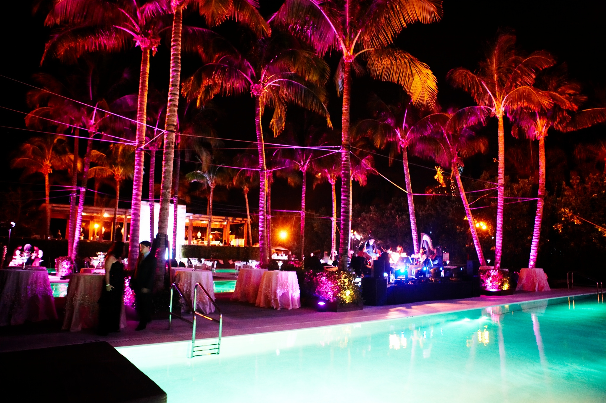 colorful wedding reception with glowing pink lighting at the setai miami beach
