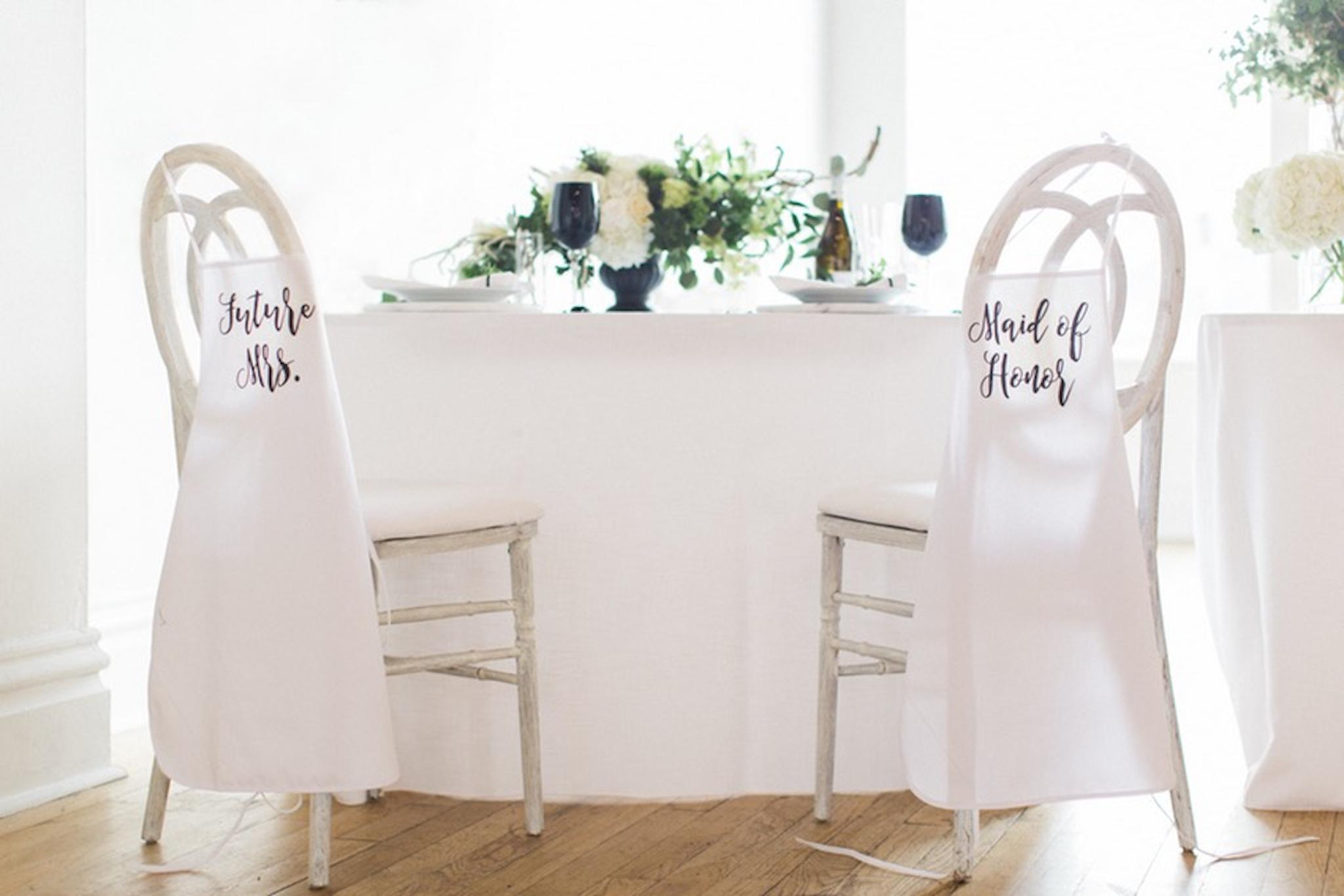 white modern bridal shower