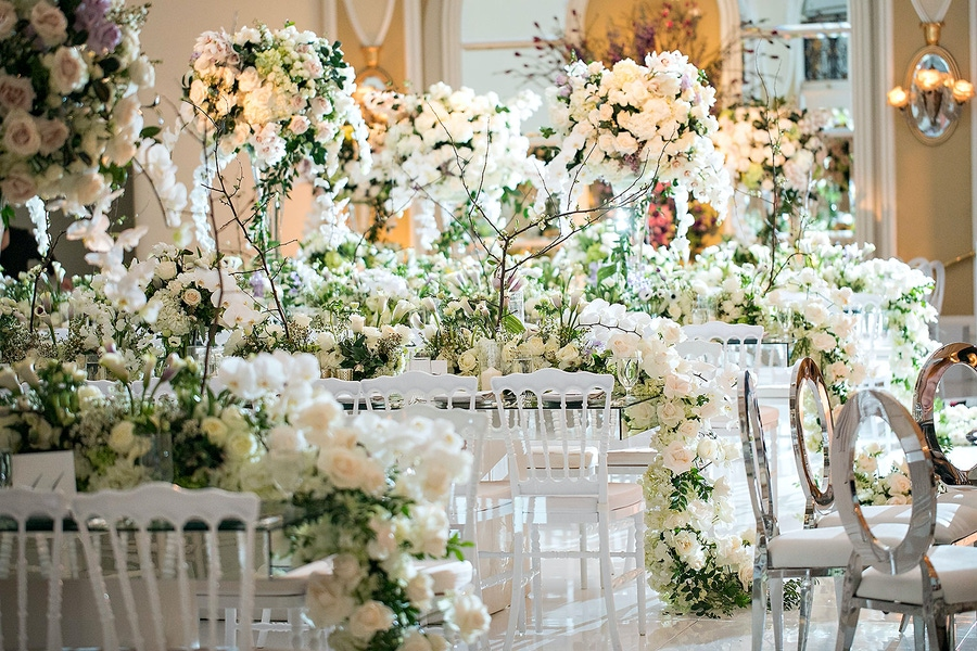 white and green floral garland