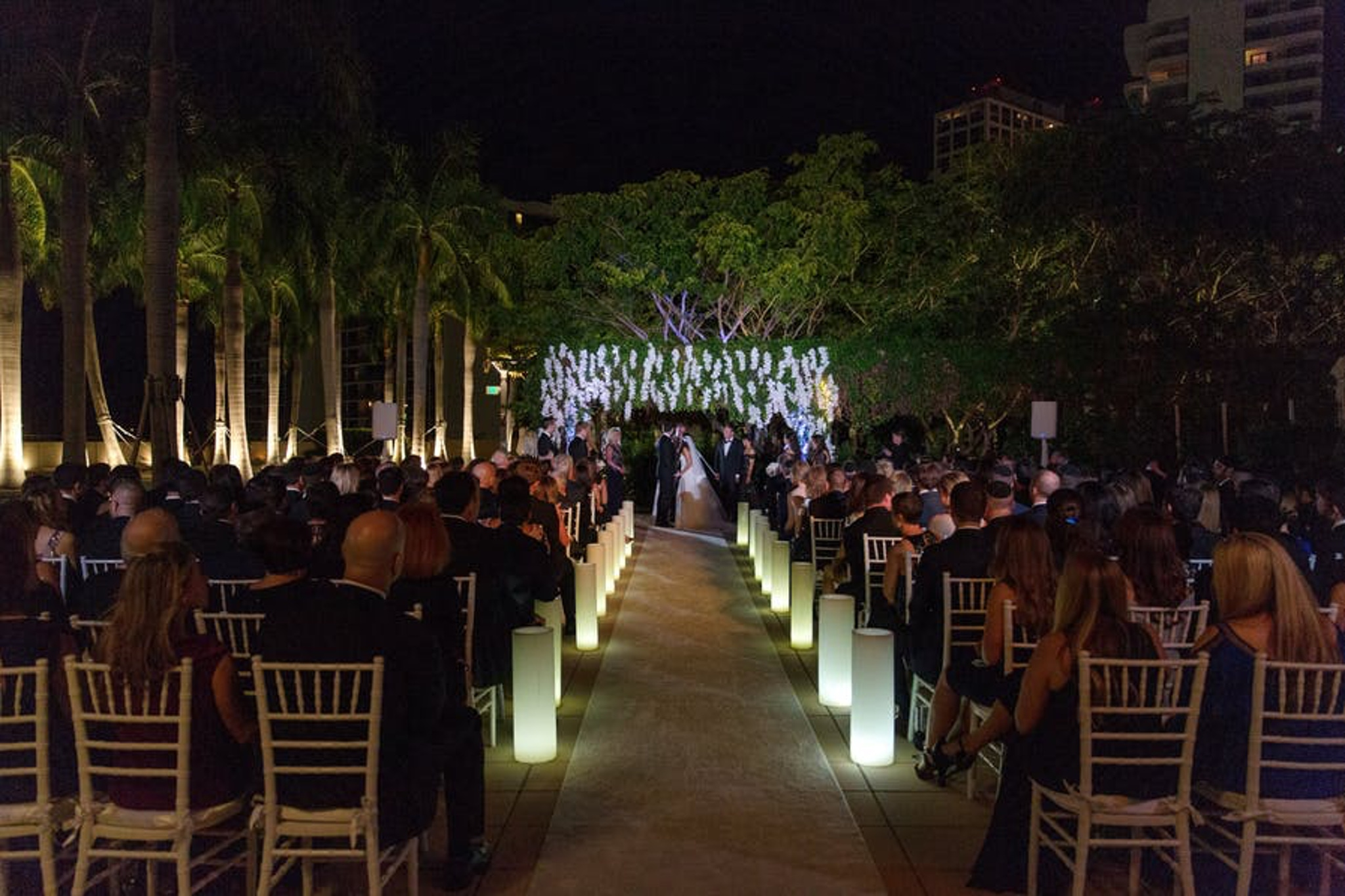 Lit up walkway at The Four Seasons Hotel Miami