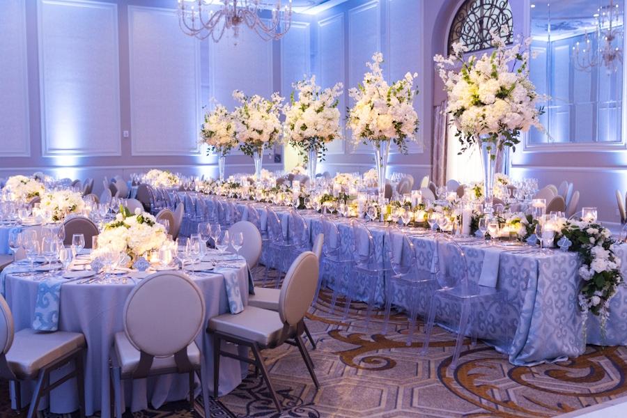 tall white floral arrangement centerpiece