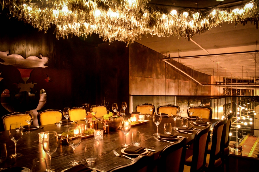 Yellow chairs, intimate lighting and fixtures in Chicago