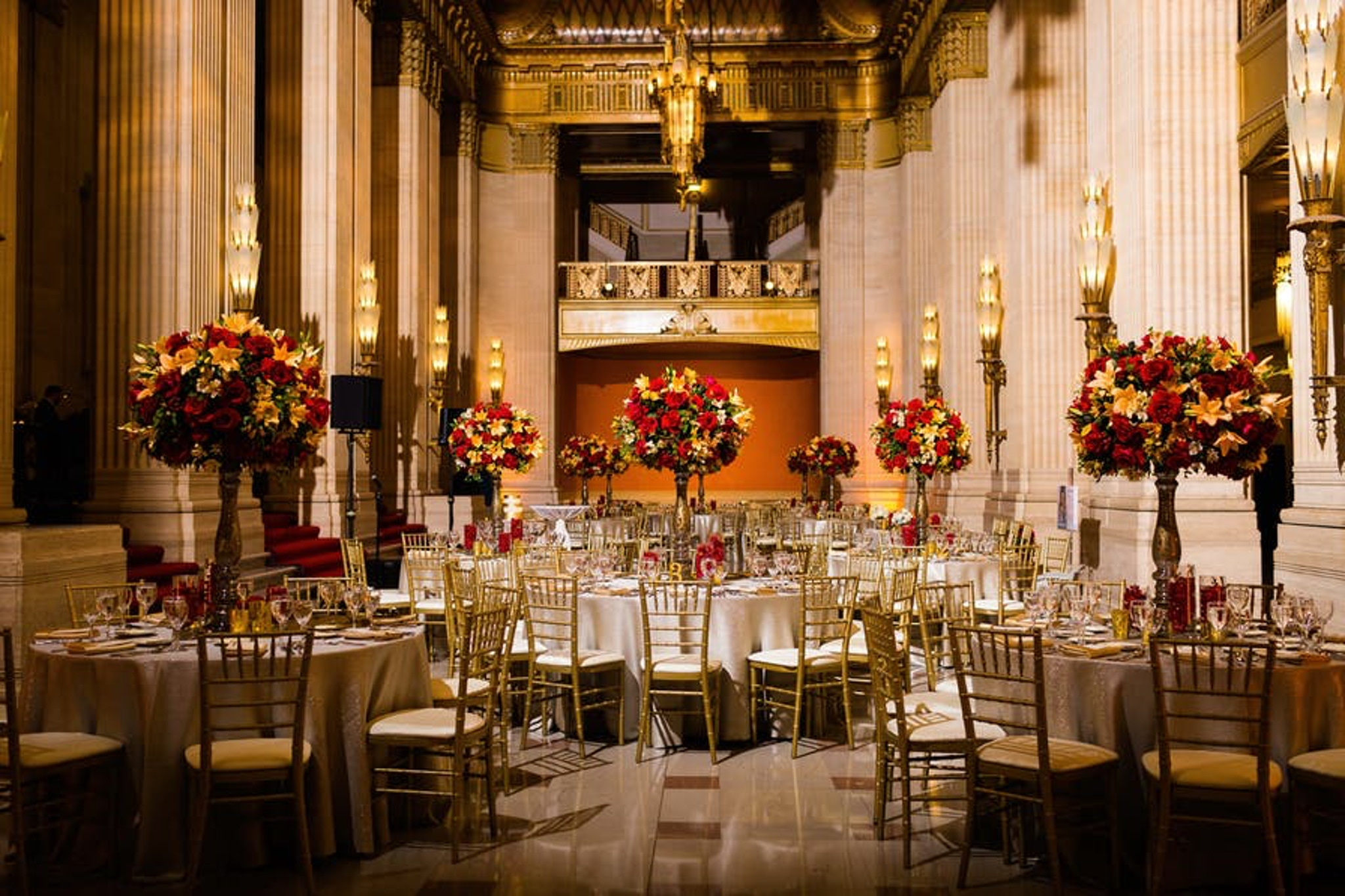 Large floral centerpieces at Lyric Opera of Chicago