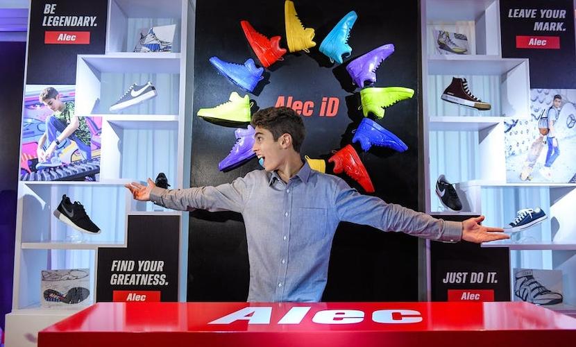 Multi colored shoe display