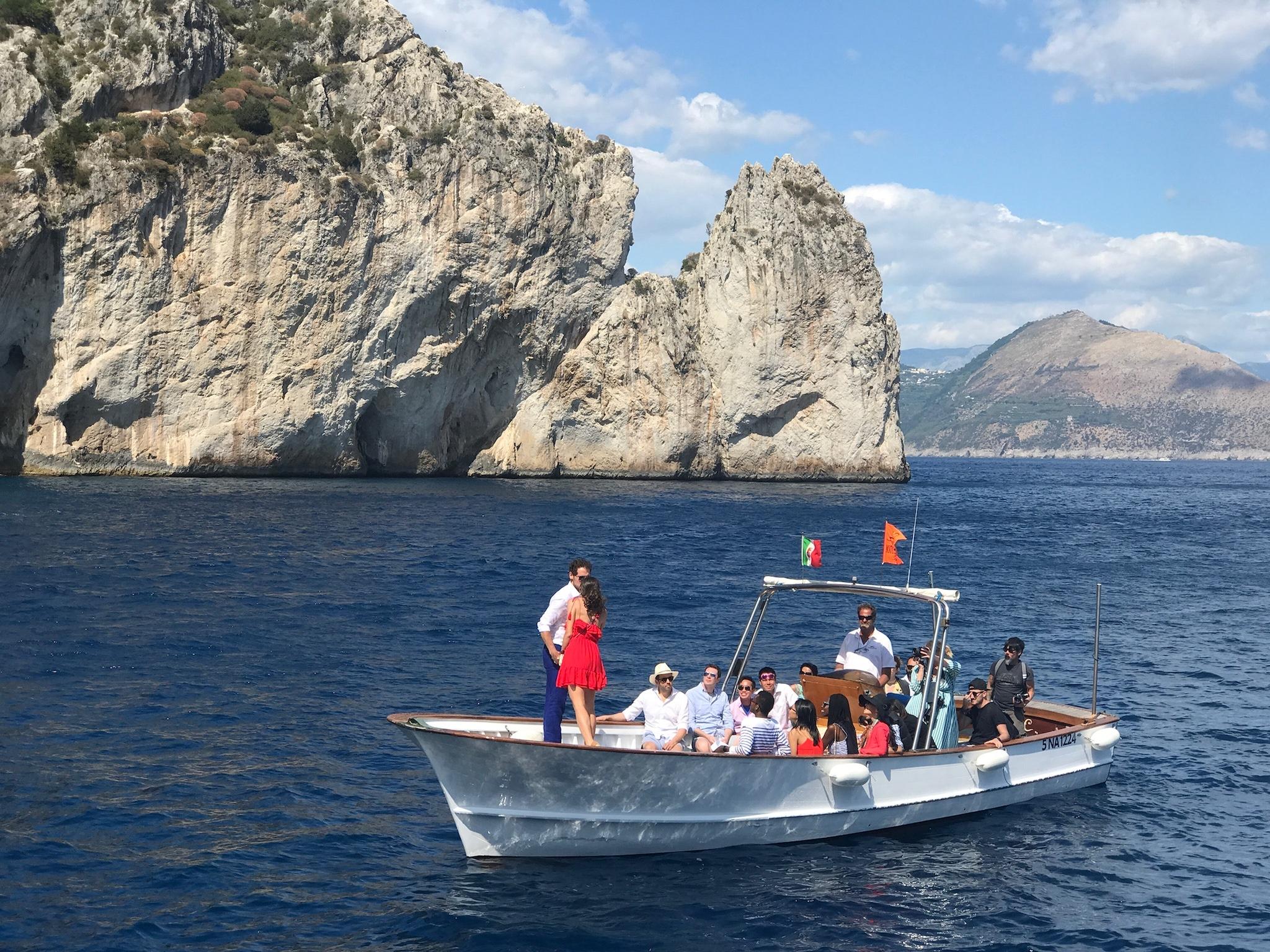 Positano boat ride wedding