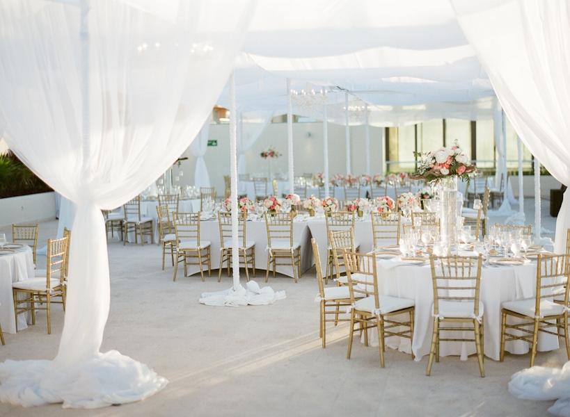 White outdoor tent wedding reception at Hyatt Ziva Cancun