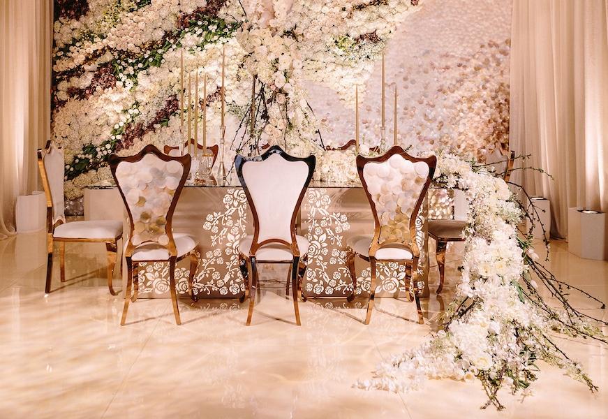 white floral decor wedding