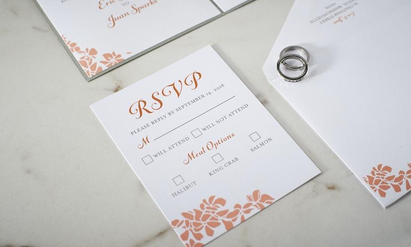 Orange wedding invitation by LovePop