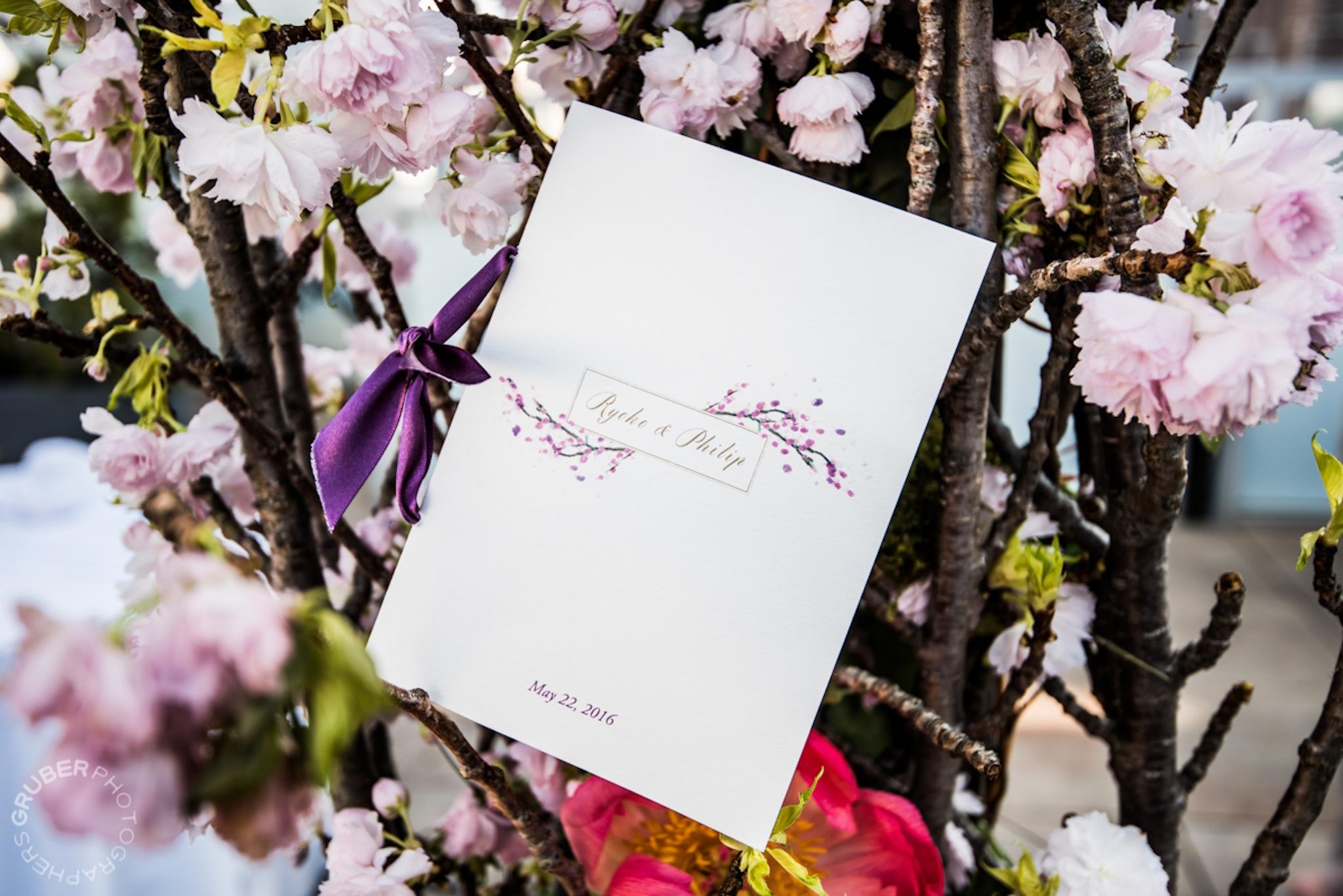 purple floral wall wedding